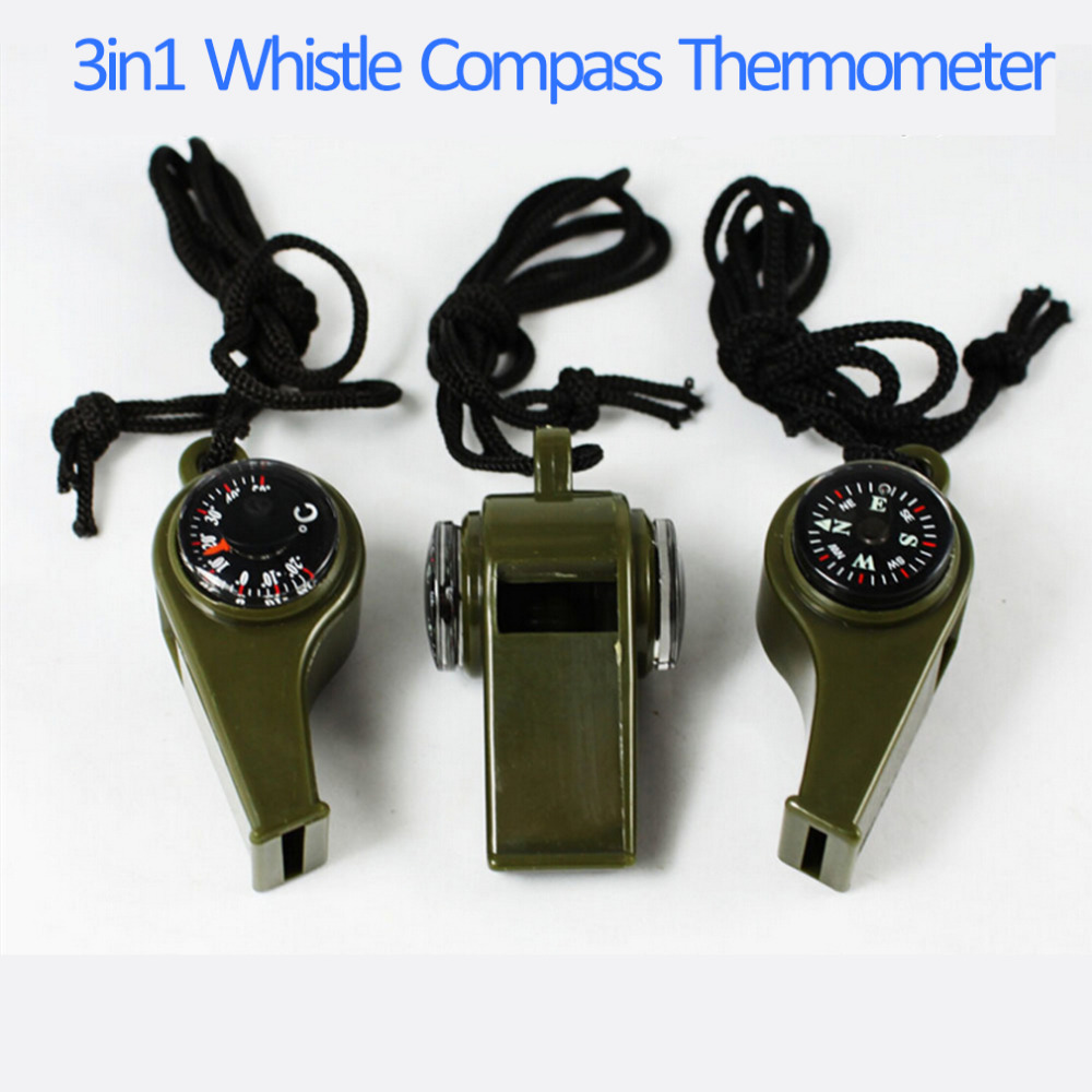1PC New black Whistle Compass 3 in1 Survival Camping Thermometer new brand survival whistle with compass thermometer and magnifier oem