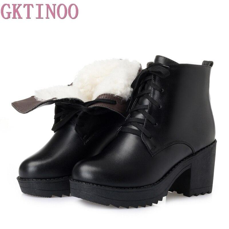 Gktinoo 2018 новые зимние теплые удобные шерсть Женские снегоступы ботильоны толстый каблук натуральная женская кожаная обувь модные ботинки