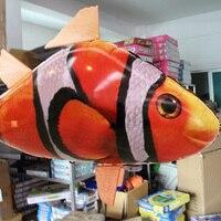 1 set Grappige Afstandsbediening Aluminium Ballon Configuratie Opblaasbare Lucht Vliegende Vis Vormige Speelgoed Shark Kids Best Gift