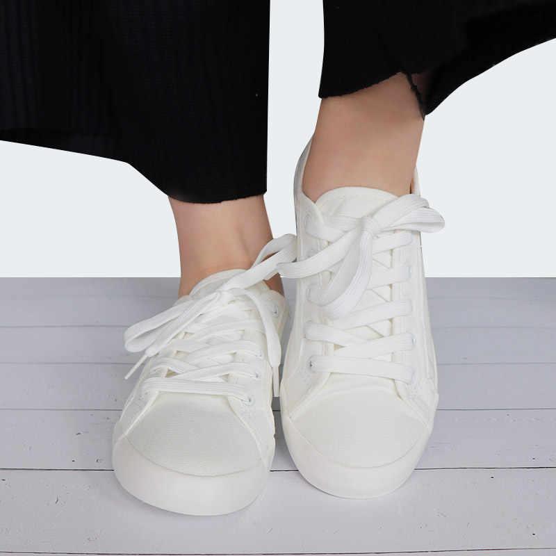Vulkanize Yaz Ayakkabı Kadın Eğitmenler Beyaz Sneakers Deri ve kanvas ayakkabılar Klasik Tenis Feminino Rahat Pamuk Zapatos Mujer