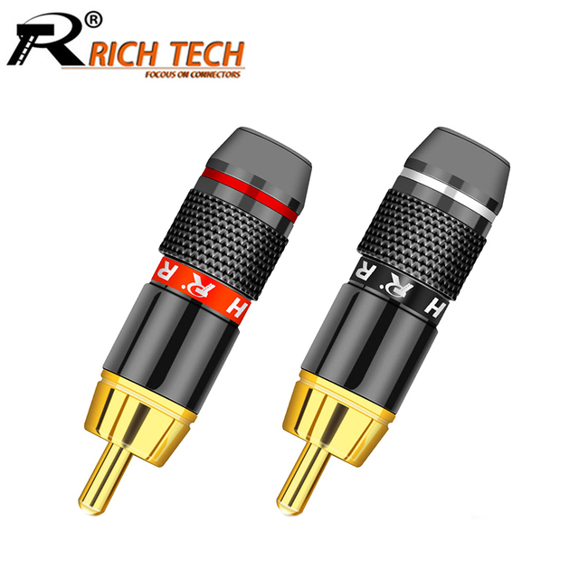10pcs/lot RCA Connector 24K Gold Plated RCA Male Plug Professional Audio Speaker Plug Jack Wire Connector 5Pairs Red+Black