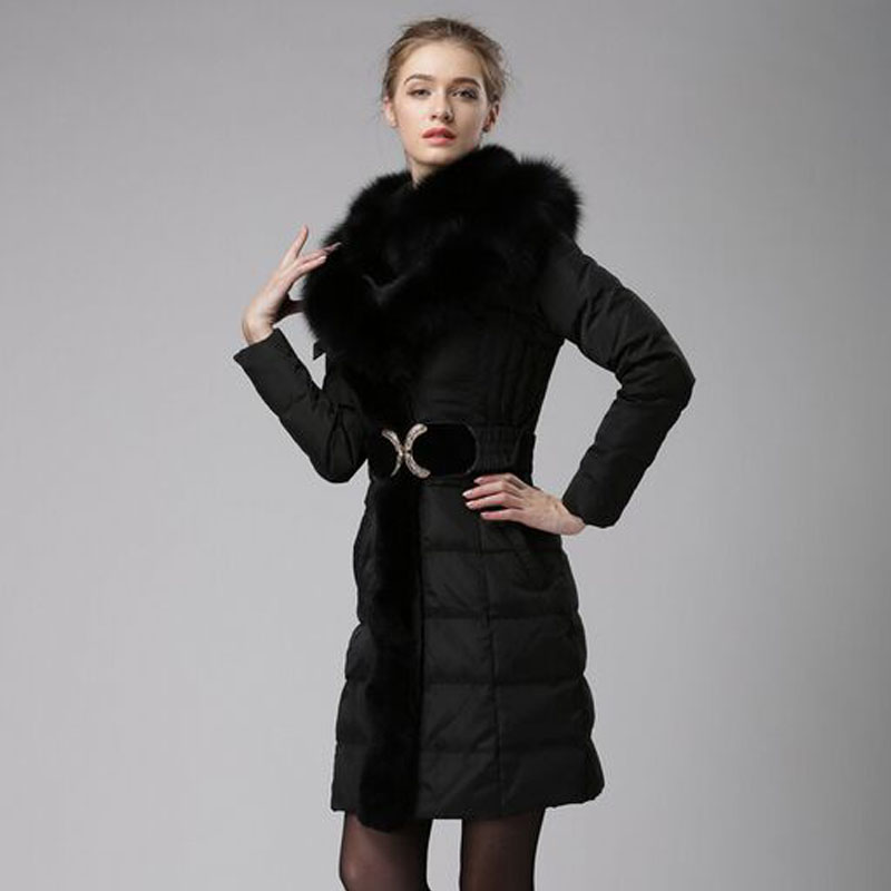Large Real Natural Fox Fur 2018 Top Quality Winter Jacket Women Thicken Warm Parkas 90% White Duck Down Jacket New Fashion Coat