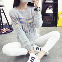 Mohair Pullovers Women O Neck Fashion Knitted Thicken Warm Sweaters Pull Femme