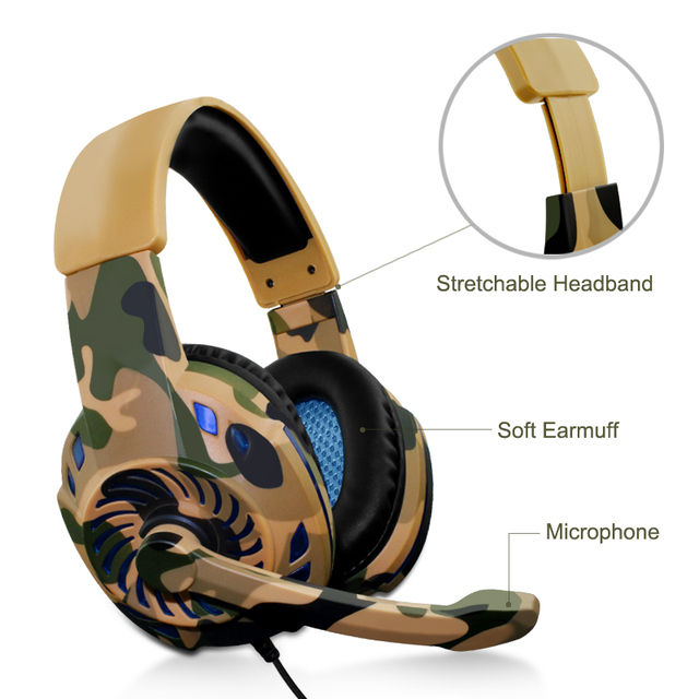 Camouflage Headset Bass Gaming Headphones 3