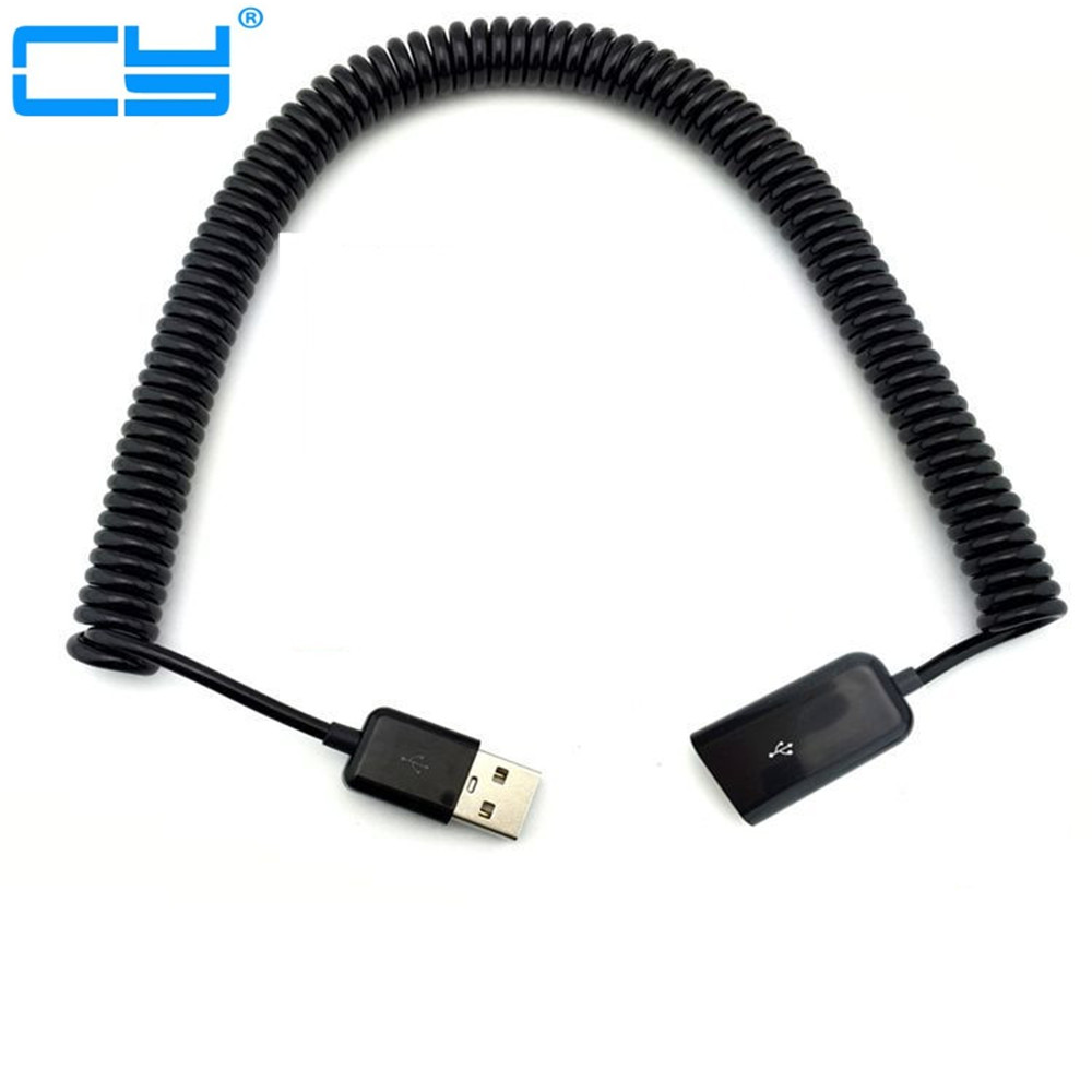 3M/10FT Elbow Spring Coiled USB 2.0 Male To Female Data Sync Charger Extension Cable