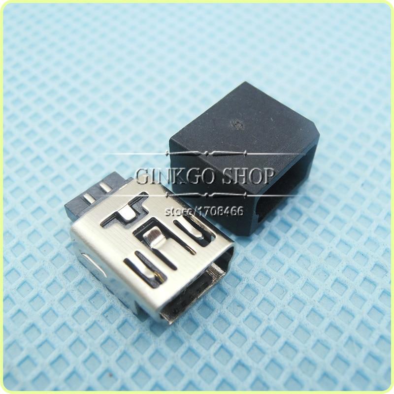 50sets/lot MINI USB Jack 5p with plastic shell, 2 in 1 usb sockect
