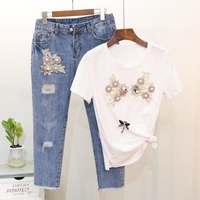 Summer 2018 Korean Women Two Piece Set Sequin Pearl Floral Short Sleeved T Shirt + Boyfriend Ripped Ankle Denim Jeaans Pant Suit