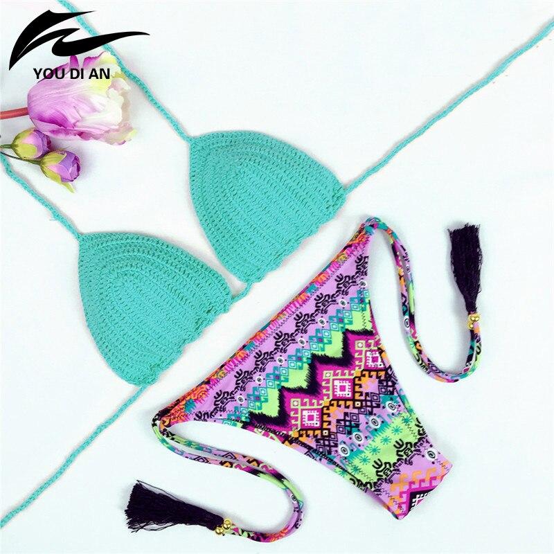 2018 Women Bikini Vintage Sexy Crochet Bikini Swimwear Pure