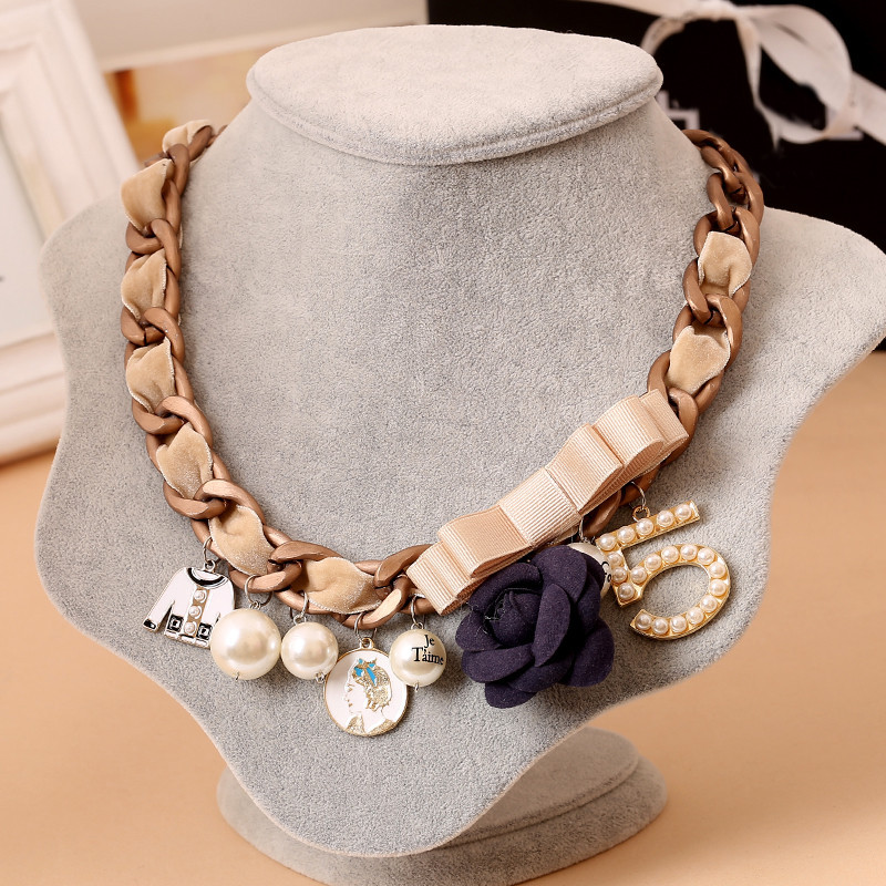 Rose Number 5 Bow Statement Necklace Charms Fashion Choker Necklace - Fashion Jewelry - Photo 2