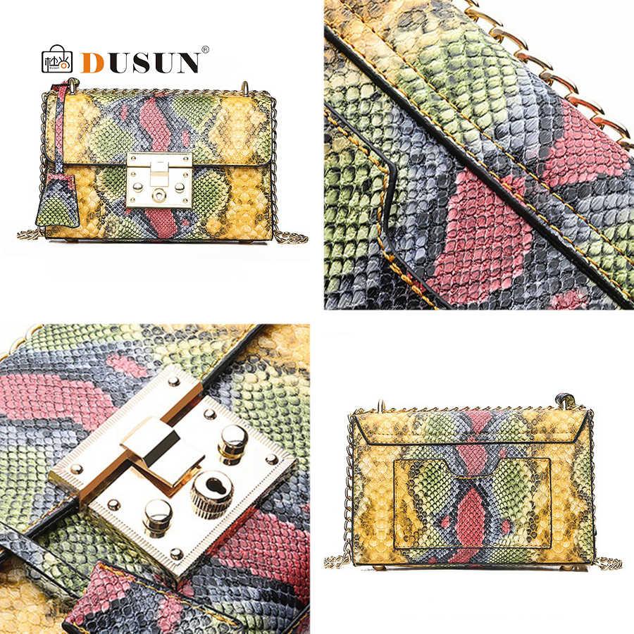 Bolso cuadrado pequeño de patrón de serpiente de lujo para señora Retro Metal hebilla bolsos de hombro Retro mujer elegante moda fiesta bandolera