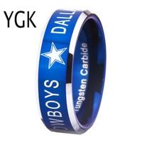 YGK BRAND JEWELRY Hot Sales 8MM Dallas Cowboys Design Men S Blue With Silver Bevel EdgeTungsten