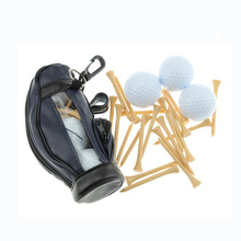 PU Small golf ball bag set  with hook and 3 pcs training balls 15pcs wooden tees tool holder