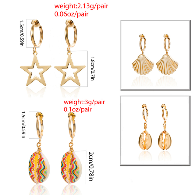 Ingemark Korean Natural Shell Drop Earrings Sweet Lvory Color Bohemian Stars Summer Conch Clip on Earring 5