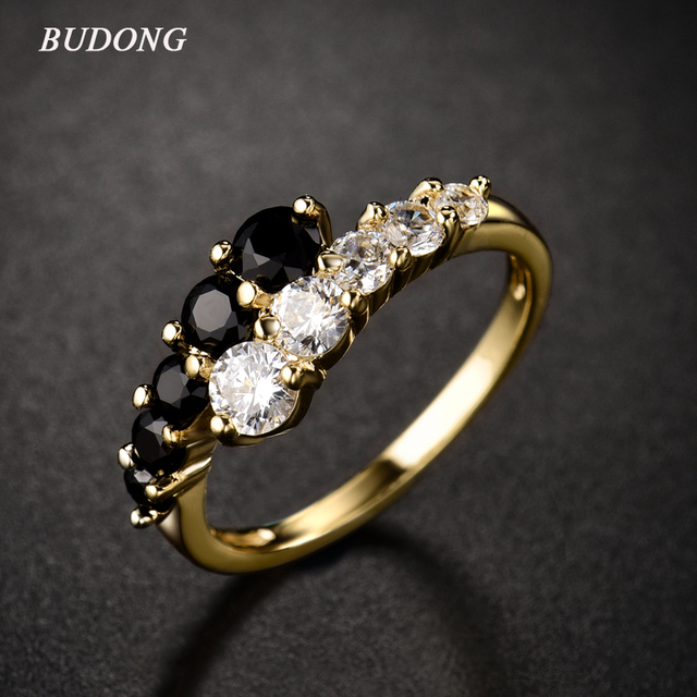 BUDONG nueva moda 2016 anillo de dedo Midi para mujer anillos de Color dorado blanco y negro anillos de boda de compromiso CZ Zircon joyería