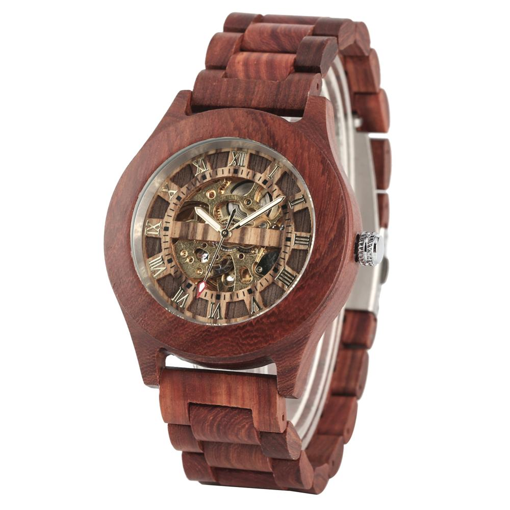 Men's Automatic Mechanical Wooden Watch Casual Wood Watches Male Fashion Red Sandalwood Wrist Clock Gift Relogio Masculino(China)