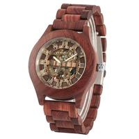 Men's Automatic Mechanical Wooden Watch Casual Wood Watches Male Fashion Red Sandalwood Wrist Clock Gift Relogio Masculino