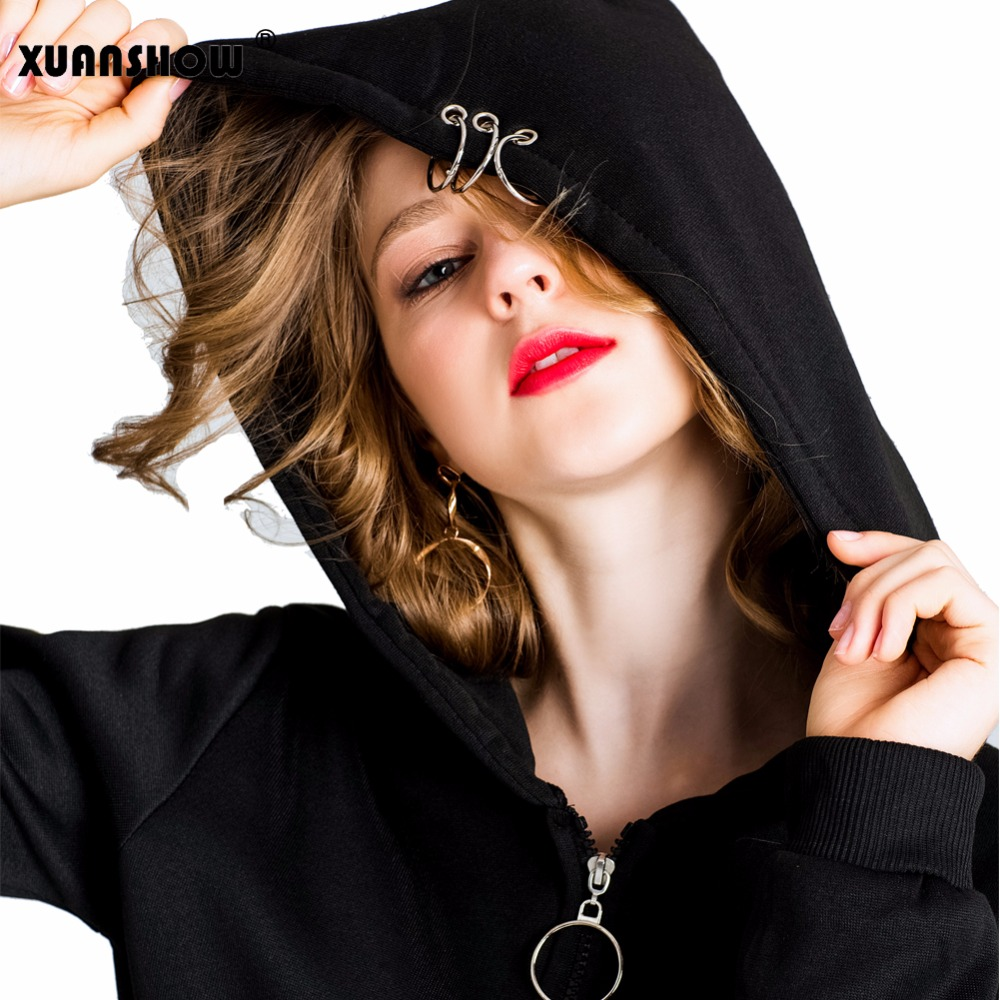 Xuanshow 2019 hoodies femininos gothic punk ferro