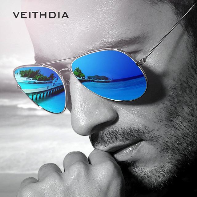 VEITHDIA Men's Polarized Pilot Sunglasses, Alloy Metal Frame, Classic Designer
