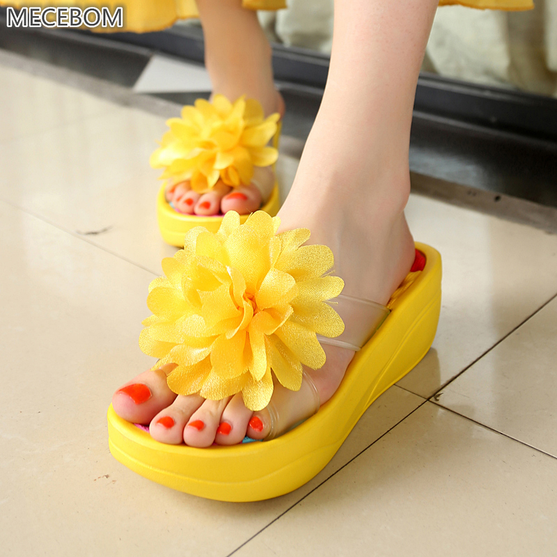 2018 N Summer Bohemia Home Women Flip Flop Shoes Non Slip Sandals Slipper Flat Wedge Heel Platform Shoes Chaussure Femme 2181W gift n home
