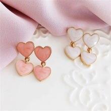 Женские серьги гвоздики в форме капельного сердца милые романтичные