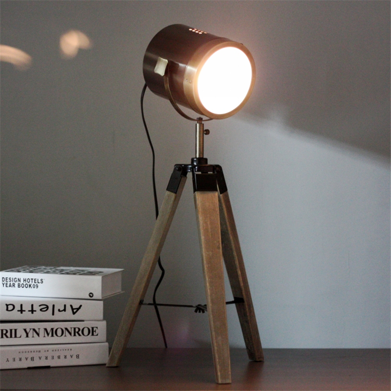 vintage handmade art retro wood tripod table lamps desk light searchlight alumnum metal copper lampshade nordic design tll4