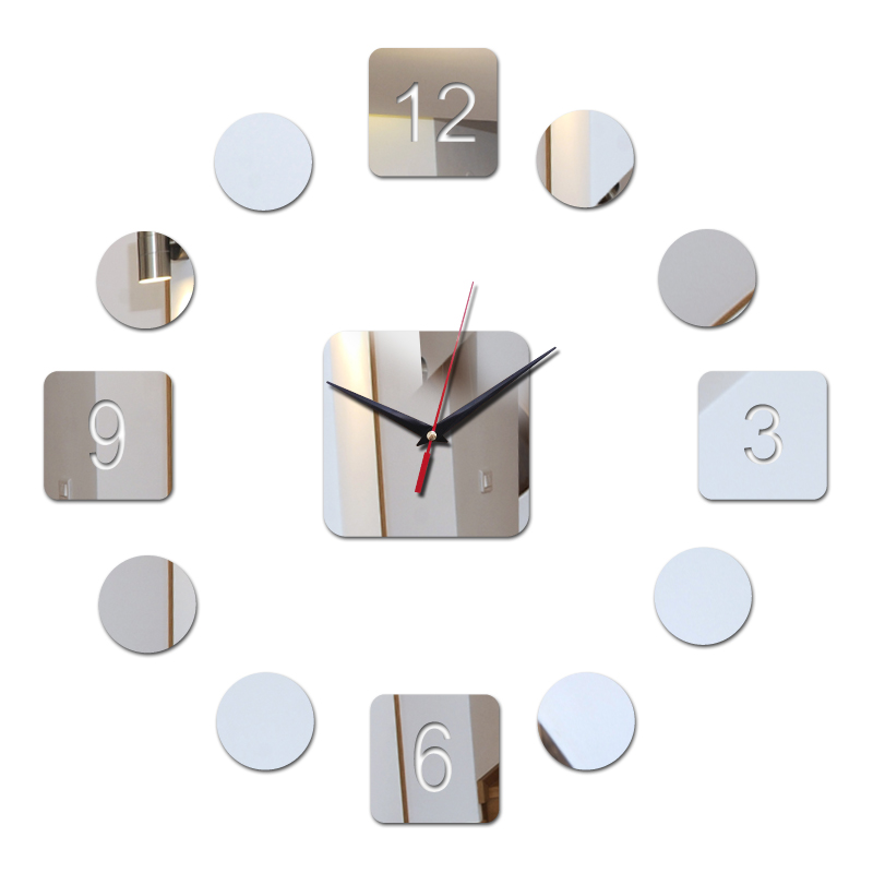 Fashion Diy Mirror Acrylic Material Wall Sticker Modern Style Wall Quartz Clocks Home Decor Wall Watches Single Face