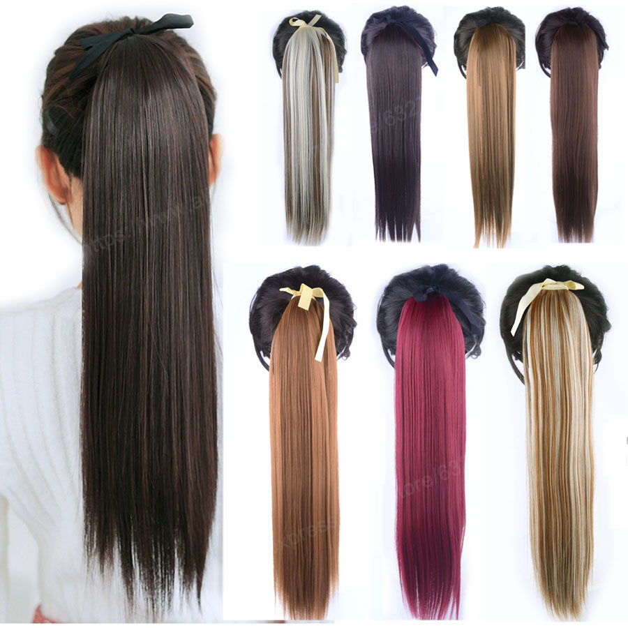 16Colors Available Clip In Ribbon Ponytail Hairpieces