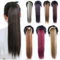 16Colors Available Clip in Ribbon Ponytail Hairpieces Synthetic False Hair Tail Straight  Hair Extensions Drawstring Ponytail
