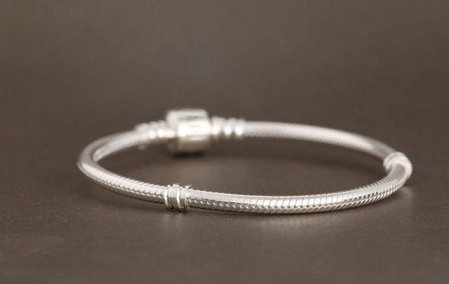 925 Sterling Silver Clover Clip Snake Chain Bracelet For Women With Brand Logo For Charm Bracelets & Bangles Jewelry Diy
