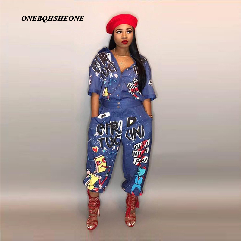 2018 New Style Brand Fashion Hip Hop Style Women Jumpsuit Special Letter Turn Down Collar Half Sleeve Romper Plus Size S-3XL