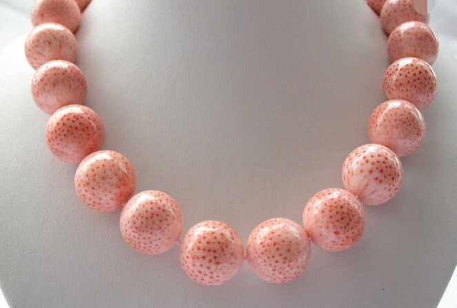 ddh002672 stunning big 16mm round pink crude coral necklace