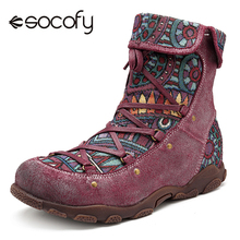 Socofy Printed Genuine Leather Winter Boots Women Shoes Vintage Motorcycle Ankle