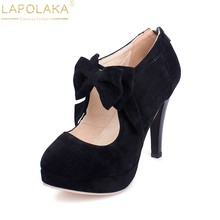9278c07f6 LAPOLAKA Primavera Outono Salto Alto Plataforma Bowtie Doce Mulheres Bombas  Plus Size 30-48 Sapatos de Casamento Festa de Sapato.