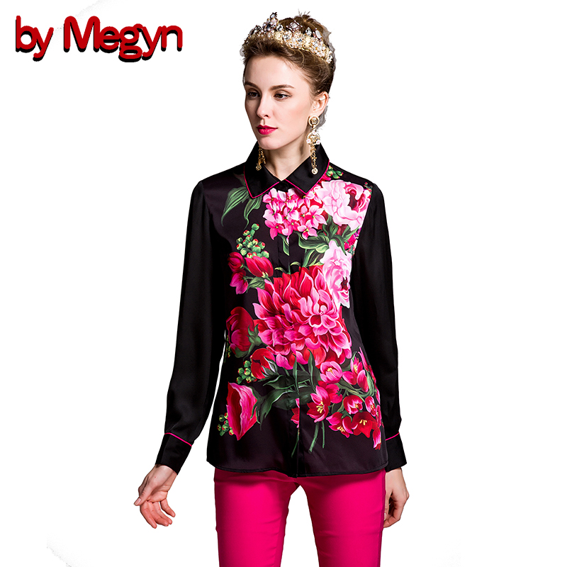 by Megyn Women Blouses top Vintage feminine shirt long sleeve rose print plus