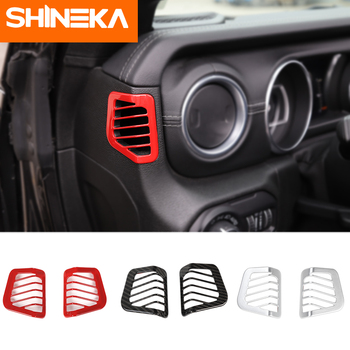 SHINEKA Interior Mouldings for jeep wrangler jl Dashboard Side Vent Decoration ABS Sticker for Jeep wrangler jl accessories shineka car sticker for jeep wrangler jl accessories rearview mirror carbon fiber chrome decoration sticker for wrangler 2018