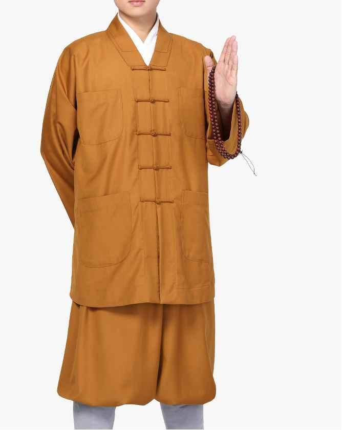 ユニセックス厚い高品質秋 & 春仏教僧侶スーツレイ瞑想服武道の制服禅少林寺僧スーツ