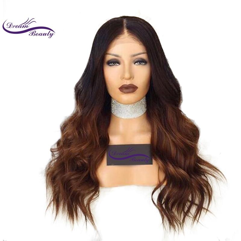 Impian Kecantikan Ombre Warna Lace Depan Rambut Manusia Wig Dengan - Rambut manusia (untuk hitam)