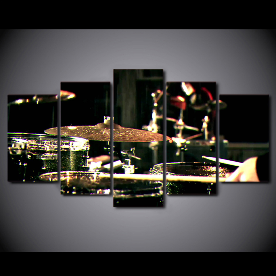 Promotion Printed Canvas Paintings Drummms font b Musical b font font b Instruments b font Wall