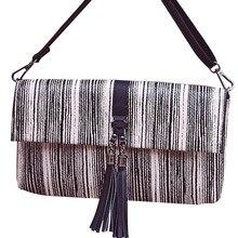2016 hohe Qualität Quaste Fransen Umhängetasche für Frauen Leder Umschlag Kupplung frauen Freizeit Striped Schulter Messenger Bags