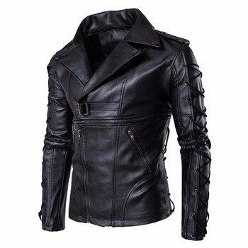Brand New Autumn Winter Men Motorcycle Leather Jacket Fashion Large Size Leather Locomotive Multi-zipper Jacket Clothing Male