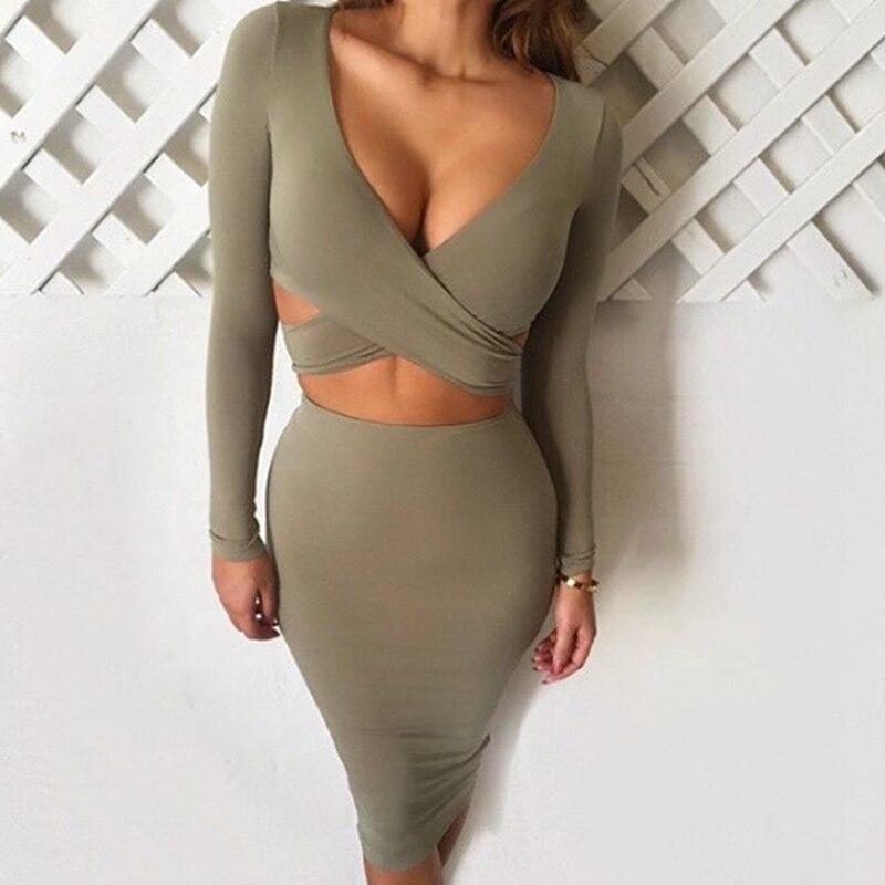 4 colors women autumn cut out midi dresses long sleeve