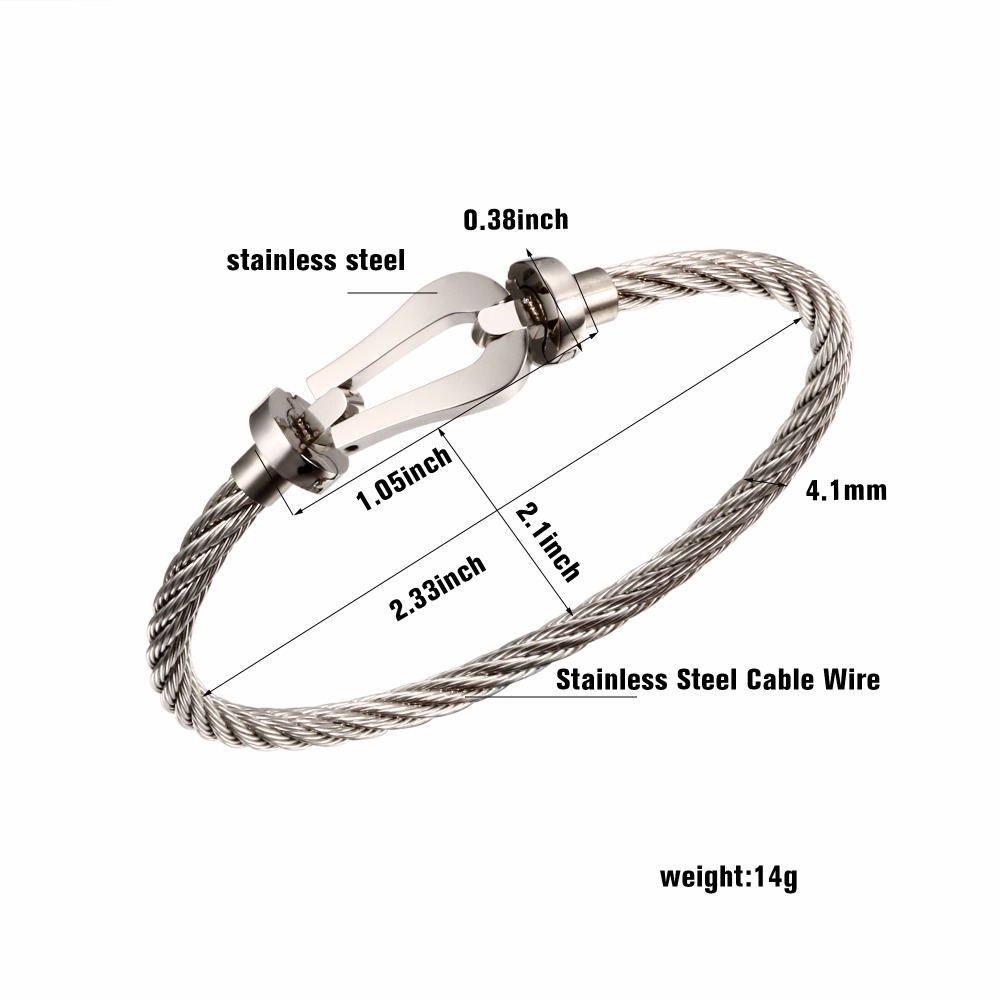Trendy Stainless Steel Open Cable Wire Bangles Bracelets For Women Man Luxury Brand Jewelry Ladies Silver Color Cuff Bangle Gift