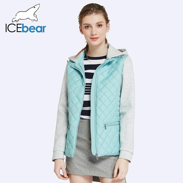 ICEbear 2017 Two Way Zipper Design Spring Jacket Women Short Slim Cotton Padded Hat Detachable Warm Coat Parka
