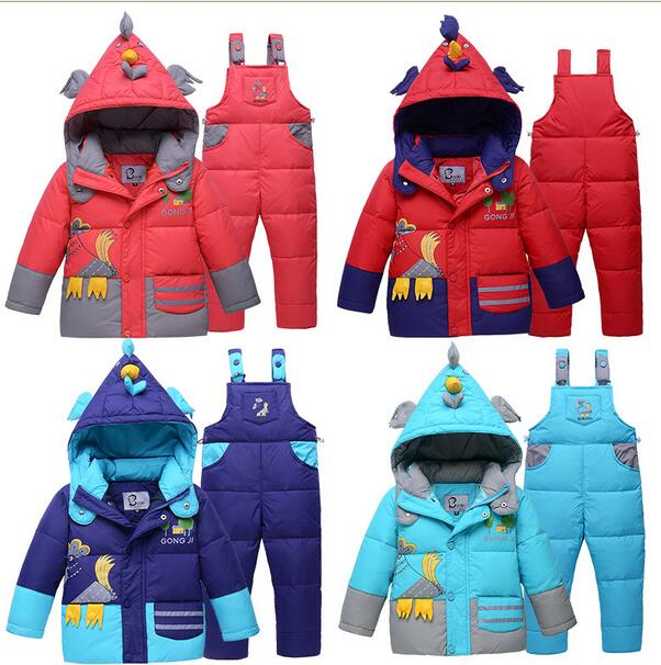 2016 Winter Children cartoon thick warm Boys girls Baby white duck jacket+pants suits Kids Coats sets vestidos parkas - Ibaymall pregnant baby clothing store