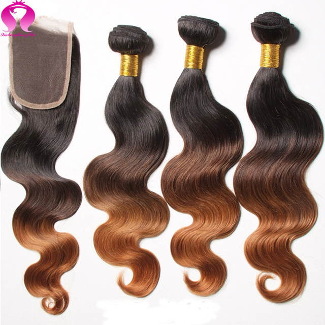 8A Ombre Peruvian Body Wave With Closure Vishine With Closure Blonde Bundle Hair With Closure Peruvian Virgin Hair With Closure