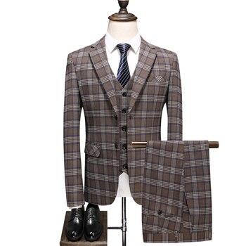 цена на British Plaid Men Suit Set High-end Custom Slim Single-breasted Lapel Party Groom Wedding Dress (blazer+ vest + pants) suit 3pcs