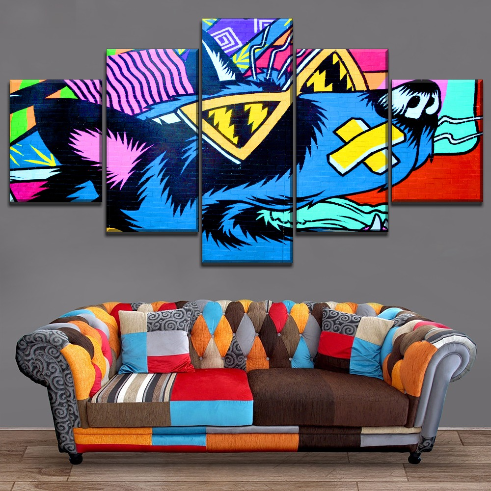 Wall Spray Paint Colorful Cartoon Glasses Dog Modern Artwork Home Decor Children Room 4 Piece On Canvas Print Type Animal Poster in Painting Calligraphy from Home Garden