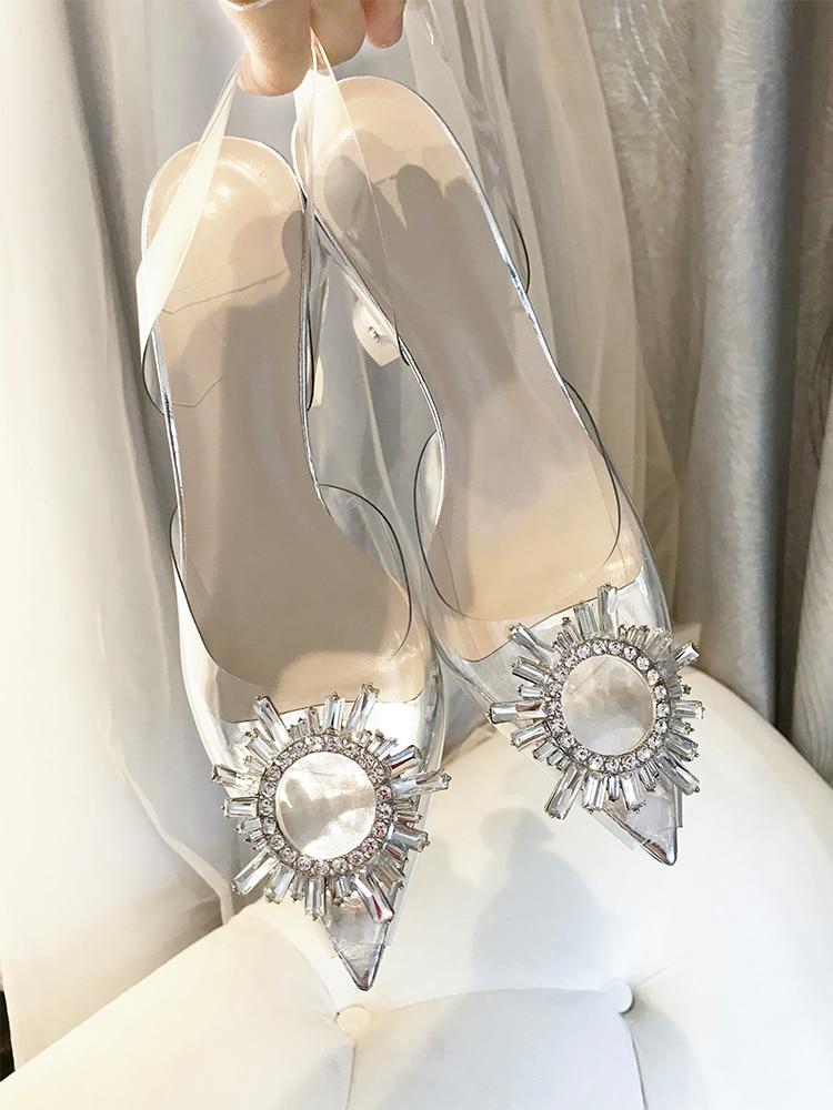 Дизайнерские прозрачные туфли из ПВХ с пряжкой и стразами; женская обувь с открытым носком и ремешком сзади; брендовые сандалии на высоком каблуке - 4