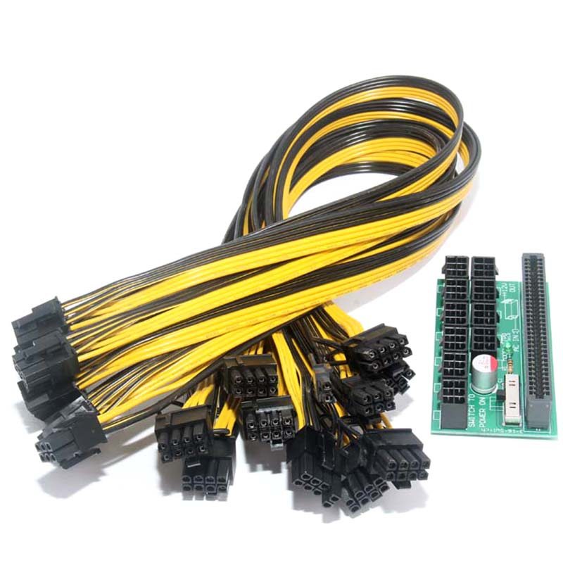 10pcs 6pin Cable with Power Module Breakout Board for HP 1200w/750w Power Module Mining Ethereum EM88 brand new power button board cable for hp pavilion 15 n series power button board da0u83pb6e0 w ribbon 732076 001