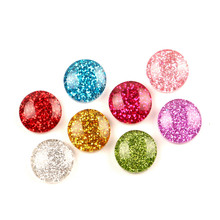 LF 50Pcs 14mm Mixed Resin Round Bling Decoration Crafts Flatback Cabochon Kawaii DIY Embellishments For Scrapbooking Accessories